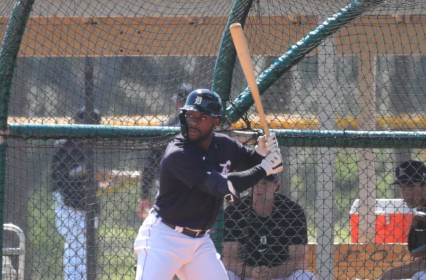Detroit Tigers outfielder Akil Baddoo takes batting practice Tuesday, Feb. 23, 2021, on the Tiger Town practice fields at Joker Marchant Stadium in Lakeland, Florida. Spring Training akil baddoo