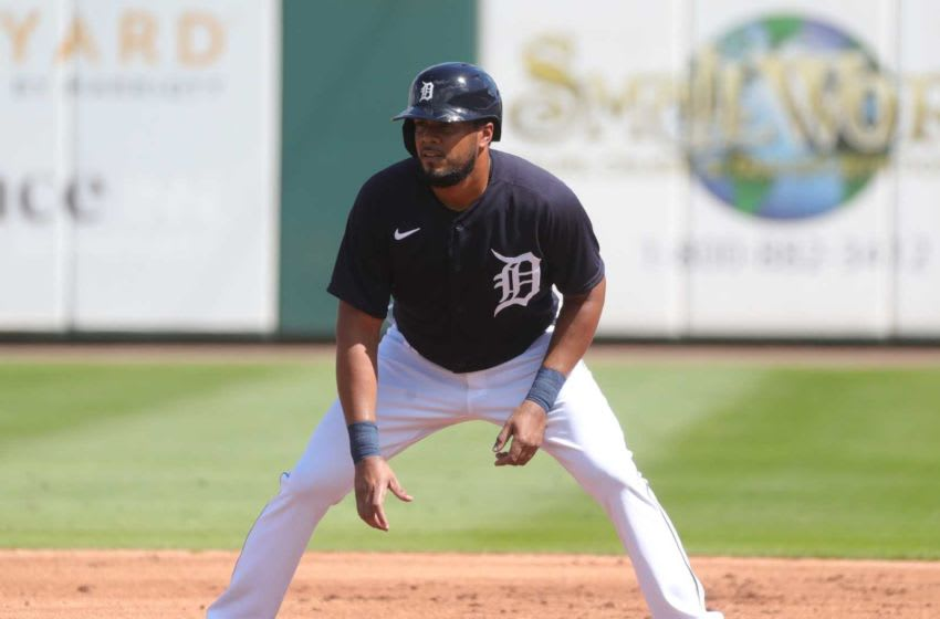 Detroit Tigers infielder Jeimer Candelario takes a lead at first during Grapefruit League action against the Philadelphia Phillies on Sunday, Feb. 28, 2021, at Publix Field at Joker Marchant Stadium in Lakeland, Florida. Spring Training