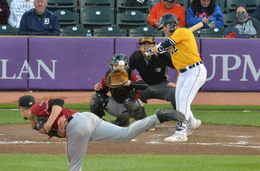 Erie SeaWolves batter Spencer Torkelson reached first base on a fielder's choice after hitting this ball.