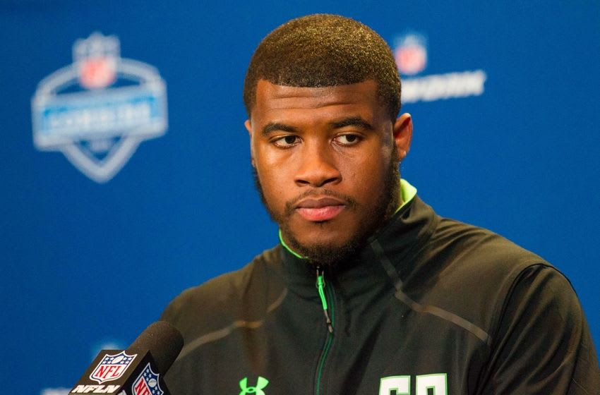 Feb 26, 2016; Indianapolis, IN, USA; Illinois defensive lineman Jihad Ward speaks to the media during the 2016 NFL Scouting Combine at Lucas Oil Stadium. Mandatory Credit: Trevor Ruszkowski-USA TODAY Sports