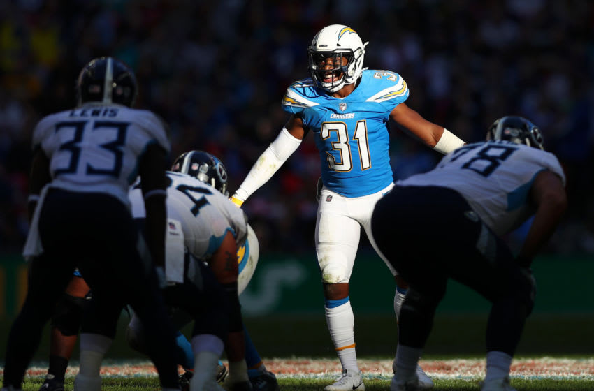 LONDON, ENGLAND - OCTOBER 21: Adrian Phillips of Los Angeles Chargers gives instruction to his team during the NFL International Series match between Tennessee Titans and Los Angeles Chargers at Wembley Stadium on October 21, 2018 in London, England. (Photo by Naomi Baker/Getty Images)