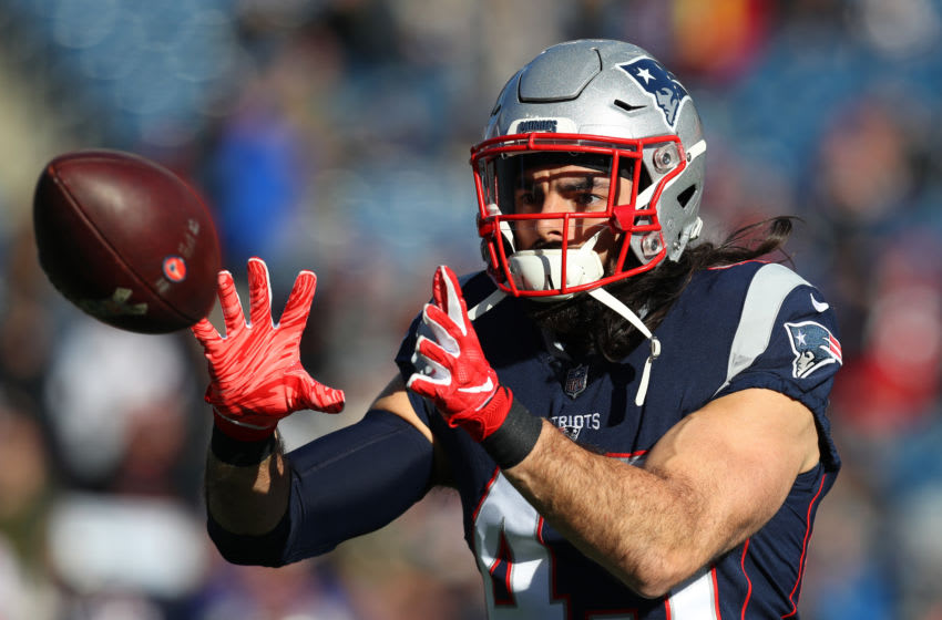 FOXBOROUGH, MASSACHUSETTS - DECEMBER 30: Nate Ebner #43 of the New England Patriots warms up before a game against the New York Jets at Gillette Stadium on December 30, 2018 in Foxborough, Massachusetts. (Photo by Maddie Meyer/Getty Images)