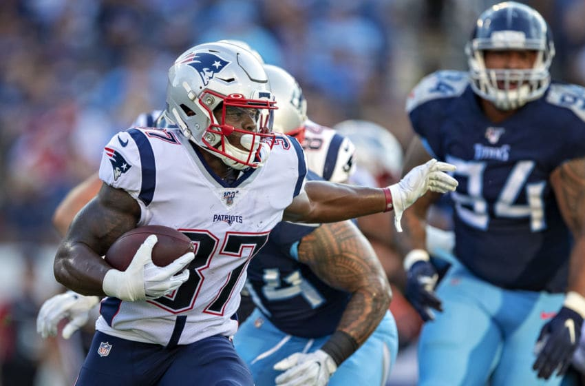 NASHVILLE, TN - AUGUST 17: Damien Harris #37 of the New England Patriots runs the ball during a week two preseason game against the Tennessee Tttans at Nissan Stadium on August 17, 2019 in Nashville, Tennessee. (Photo by Wesley Hitt/Getty Images)