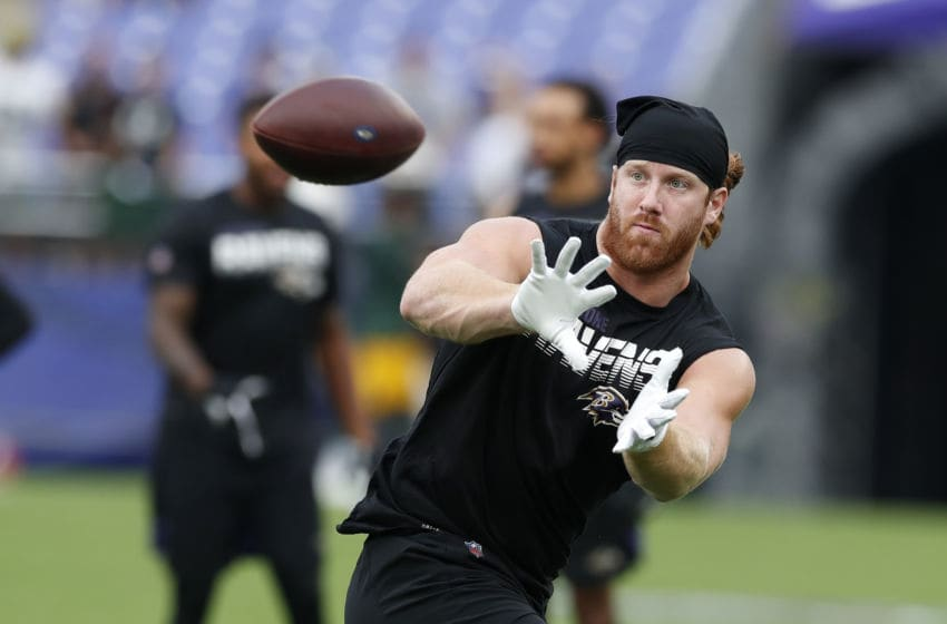 BALTIMORE, MARYLAND - AUGUST 15: Hayden Hurst #81 of the Baltimore Ravens warms up prior to a preseason game against the Green Bay Packers at M&T Bank Stadium on August 15, 2019 in Baltimore, Maryland. (Photo by Todd Olszewski/Getty Images)