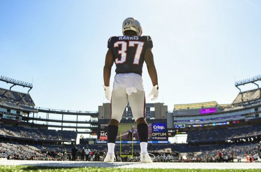 FOXBOROUGH, MA - SEPTEMBER 22: Damien Harris #37 of the New England Patriots looks on before a game against the New York Jets at Gillette Stadium on September 22, 2019 in Foxborough, Massachusetts. (Photo by Billie Weiss/Getty Images)