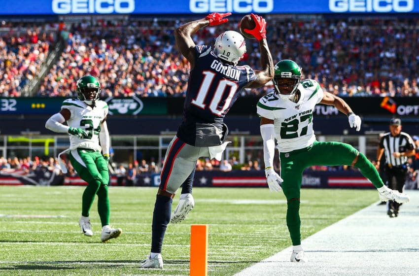 FOXBOROUGH, MA - SEPTEMBER 22: Josh Gordon #10 of the New England Patriots makes a catch in the third quarter of a game against the New York Jets at Gillette Stadium on September 22, 2019 in Foxborough, Massachusetts. (Photo by Adam Glanzman/Getty Images)