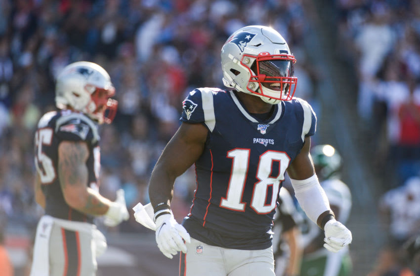 FOXBOROUGH, MA - SEPTEMBER 22: Matthew Slater #18 of the New England Patriots reacts after a play in the fourth quarter against the New York Jets at Gillette Stadium on September 22, 2019 in Foxborough, Massachusetts. (Photo by Kathryn Riley/Getty Images)