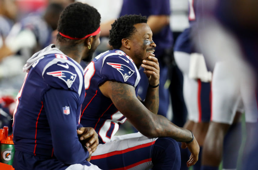 FOXBOROUGH, MASSACHUSETTS - AUGUST 29: Demaryius Thomas #88 of the New England Patriots looks on from the bench during the preseason game between the New York Giants and the New England Patriots at Gillette Stadium on August 29, 2019 in Foxborough, Massachusetts. (Photo by Maddie Meyer/Getty Images)
