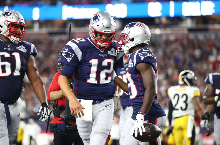 FOXBOROUGH, MASSACHUSETTS - SEPTEMBER 08: Phillip Dorsett #13 of the New England Patriots celebrates with Tom Brady #12 after scoring a 25-yard touchdown during the second quarter against the Pittsburgh Steelers at Gillette Stadium on September 08, 2019 in Foxborough, Massachusetts. (Photo by Adam Glanzman/Getty Images)