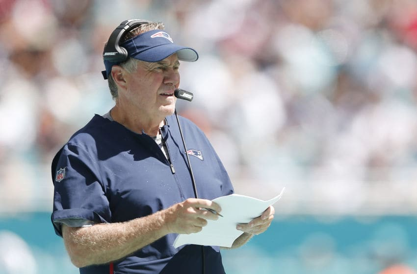 MIAMI, FLORIDA - SEPTEMBER 15: Head coach Bill Belichick of the New England Patriots looks on against the Miami Dolphins during the third quarter at Hard Rock Stadium on September 15, 2019 in Miami, Florida. (Photo by Michael Reaves/Getty Images)