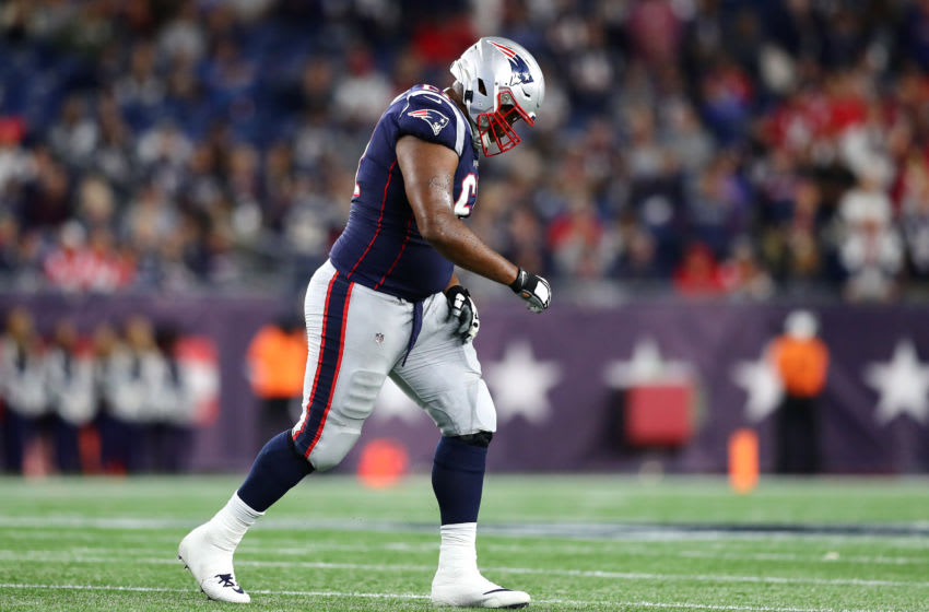 FOXBOROUGH, MASSACHUSETTS - SEPTEMBER 08: Marcus Cannon #61 of the New England Patriots leaves the field after suffering an injury during the second half against the Pittsburgh Steelers at Gillette Stadium on September 08, 2019 in Foxborough, Massachusetts. (Photo by Adam Glanzman/Getty Images)