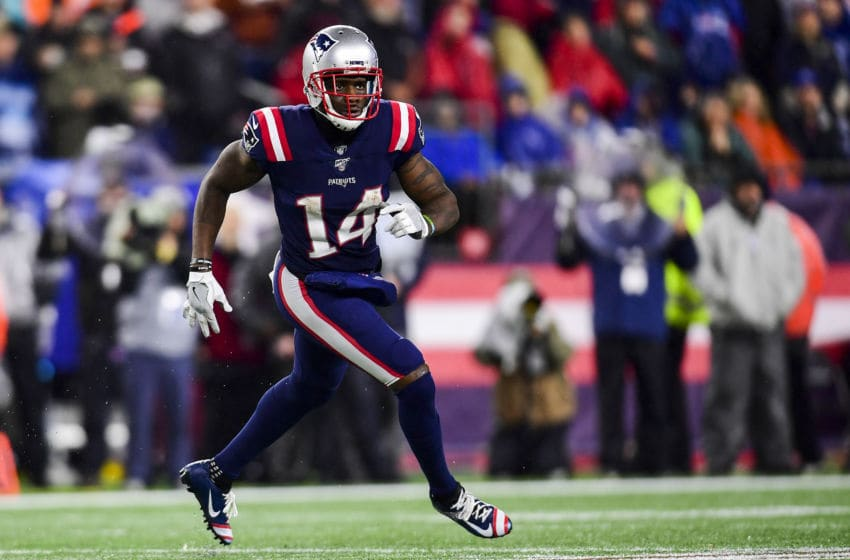 FOXBOROUGH, MA - OCTOBER 27: Mohamed Sanu Sr. #14 of the New England Patriots runs during a game against the Cleveland Browns at Gillette Stadium on October 27, 2019 in Foxborough, Massachusetts. (Photo by Billie Weiss/Getty Images)