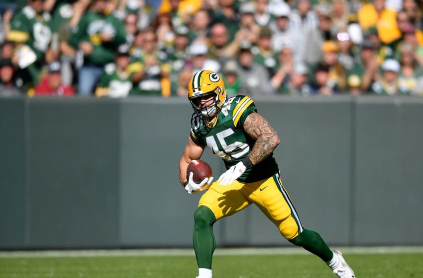 GREEN BAY, WISCONSIN - OCTOBER 20: Danny Vitale #45 of the Green Bay Packers runs with the football against the Oakland Raiders at Lambeau Field on October 20, 2019 in Green Bay, Wisconsin. (Photo by Quinn Harris/Getty Images)
