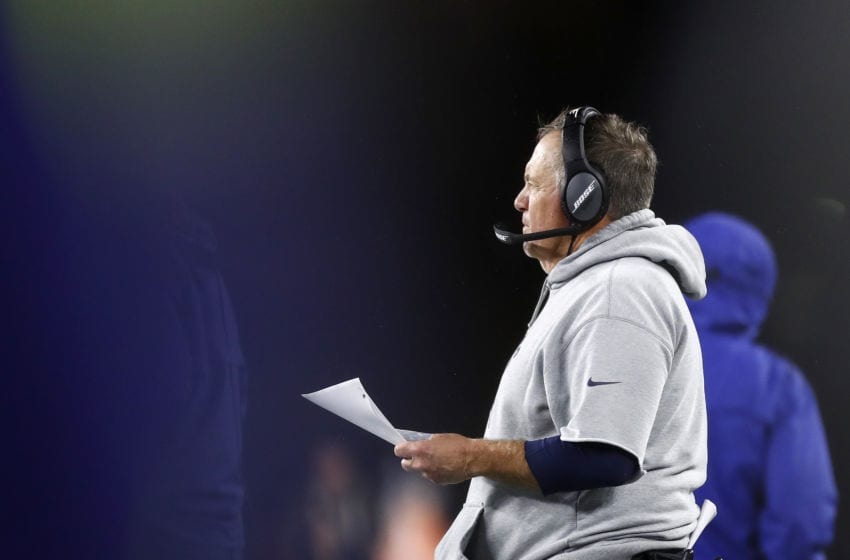 FOXBOROUGH, MASSACHUSETTS - OCTOBER 27: Head coach Bill Belichick of the New England Patriots looks on during the third quarter of the game against the Cleveland Browns at Gillette Stadium on October 27, 2019 in Foxborough, Massachusetts. (Photo by Omar Rawlings/Getty Images)