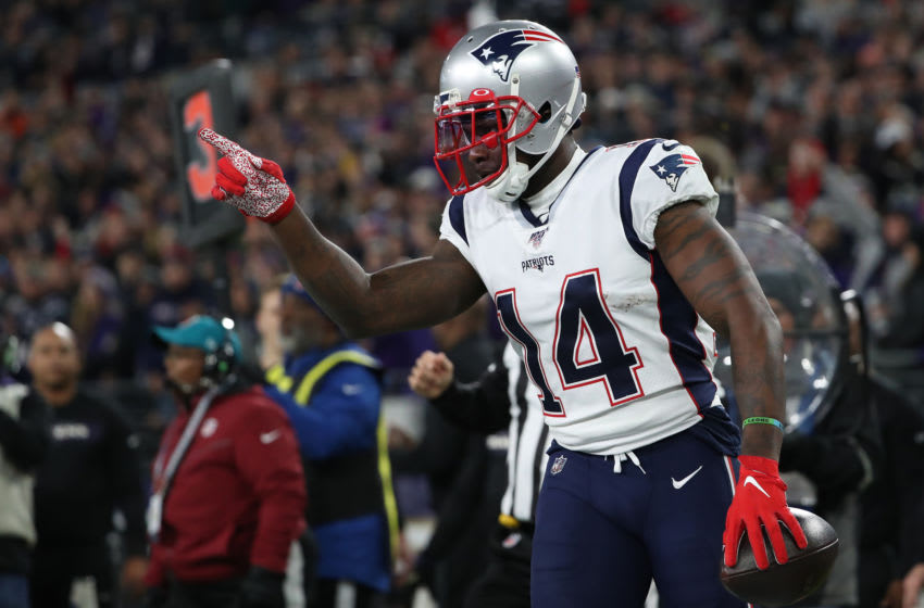 BALTIMORE, MARYLAND - NOVEMBER 03: Wide receiver Mohamed Sanu #14 of the New England Patriots celebrates his second quarter touchdown against the Baltimore Ravens at M&T Bank Stadium on November 3, 2019 in Baltimore, Maryland. (Photo by Todd Olszewski/Getty Images)