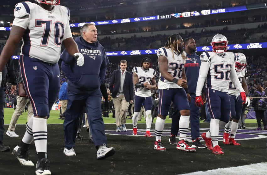 BALTIMORE, MARYLAND - NOVEMBER 03: Head coach Bill Belichick of the New England Patriots walks off of the field at halftime against the Baltimore Ravens at M&T Bank Stadium on November 3, 2019 in Baltimore, Maryland. (Photo by Todd Olszewski/Getty Images)