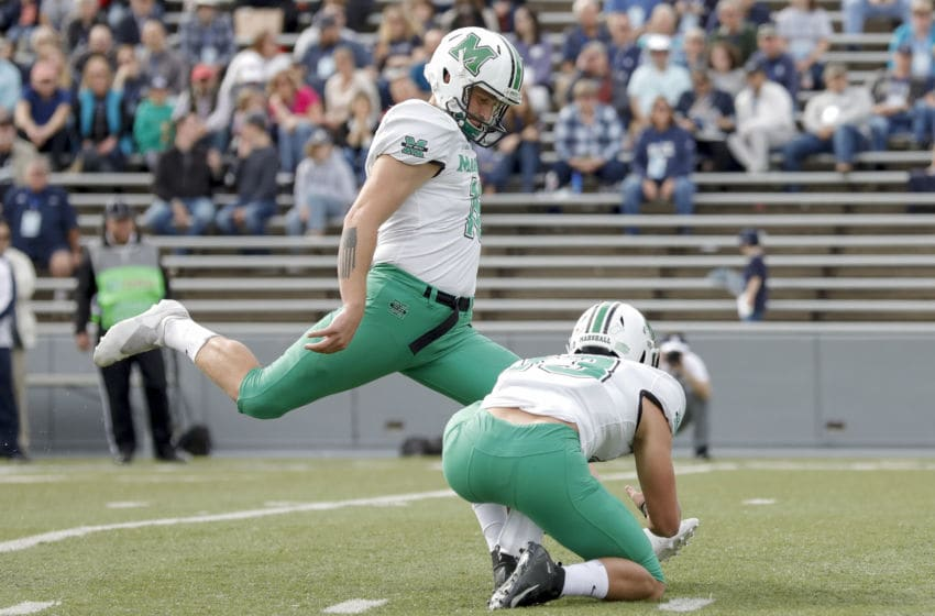 HOUSTON, TX - NOVEMBER 02: Justin Rohrwasser #16 of the Marshall Thundering Herd kicks a field goal in the first half against the Rice Owls on November 2, 2019 in Houston, Texas. (Photo by Tim Warner/Getty Images)