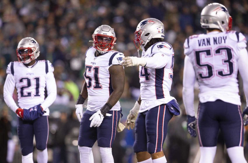 PHILADELPHIA, PA - NOVEMBER 17: Duron Harmon #21, Ja'Whaun Bentley #51, Dont'a Hightower #54, and Kyle Van Noy #53 of the New England Patriots in action against the Philadelphia Eagles at Lincoln Financial Field on November 17, 2019 in Philadelphia, Pennsylvania. (Photo by Mitchell Leff/Getty Images)