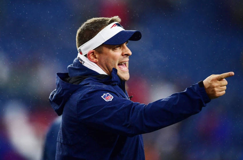 FOXBOROUGH, MASSACHUSETTS - NOVEMBER 24: New England Patriots offensive coordinator Josh McDaniels reacts before the game against the Dallas Cowboys at Gillette Stadium on November 24, 2019 in Foxborough, Massachusetts. (Photo by Billie Weiss/Getty Images)