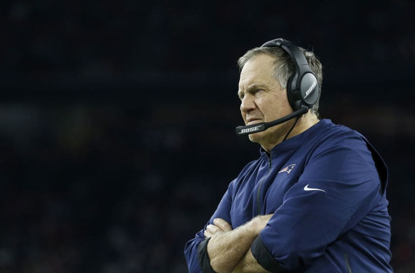 HOUSTON, TX - DECEMBER 01: Head coach Bill Belichick of the New England Patriots reacts on the sideline in the fourth quarter against the Houston Texans at NRG Stadium on December 1, 2019 in Houston, Texas. (Photo by Tim Warner/Getty Images)