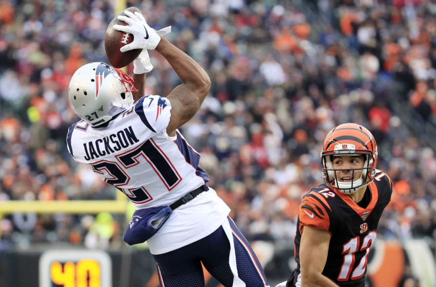 CINCINNATI, OHIO - DECEMBER 15: J.C. Jackson #27 of the New England Patriots intercepts a pass during the third quarter against the Cincinnati Bengals in the game at Paul Brown Stadium on December 15, 2019 in Cincinnati, Ohio. (Photo by Andy Lyons/Getty Images)