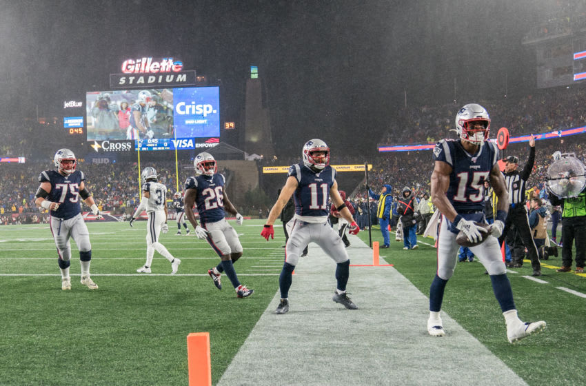 FOXBOROUGH, MA - NOVEMBER 24: New England Patriots Wide Receiver N'Keal Harry #15 celebrates his touchdown during a game between Dallas Cowboys and New England Patriots at Gillette's on November 24, 2019 in Foxborough, Massachusetts. (Photo by Timothy Bouwer/ISI Photos/Getty Images)