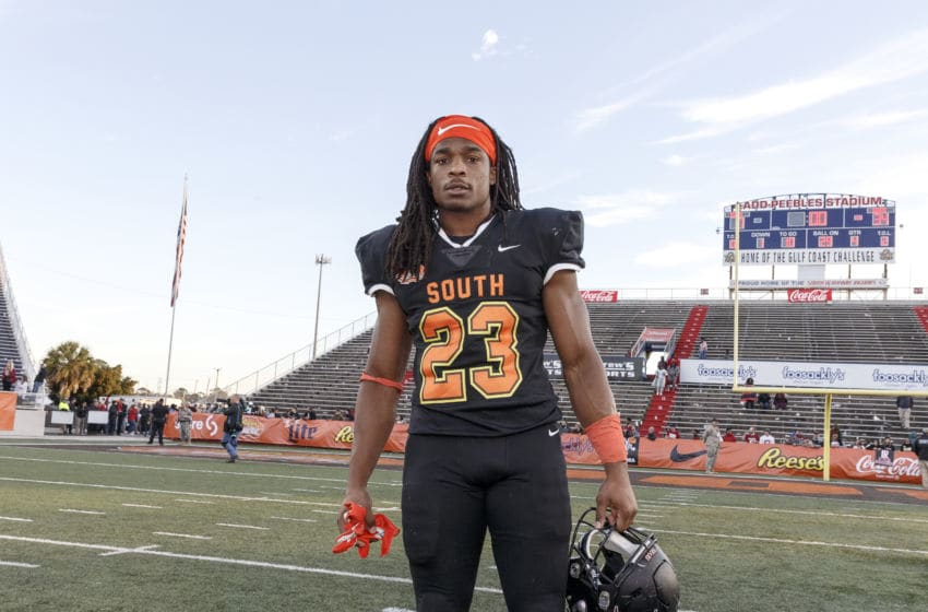 MOBILE, AL - JANUARY 25: Safety Kyle Dugger #23 from Lenoir Rhyne of the South Team pose after the 2020 Resse's Senior Bowl at Ladd-Peebles Stadium on January 25, 2020 in Mobile, Alabama. The Noth Team defeated the South Team 34 to 17. (Photo by Don Juan Moore/Getty Images)