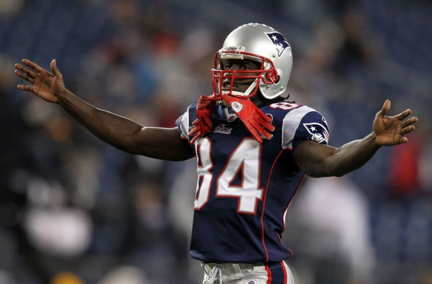 FOXBORO, MA - NOVEMBER 21: Deion Branch #84 of the New England Patriots prepares for a game with the Kansas City Chiefs at Gillette Stadium on November 21, 2011 in Foxboro, Massachusetts. (Photo by Jim Rogash/Getty Images)