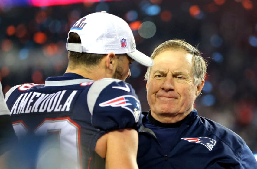 FOXBOROUGH, MA - JANUARY 21: Danny Amendola #80 of the New England Patriots celebrates with head coach Bill Belichick after winning the AFC Championship Game against the Jacksonville Jaguars at Gillette Stadium on January 21, 2018 in Foxborough, Massachusetts. (Photo by Adam Glanzman/Getty Images)