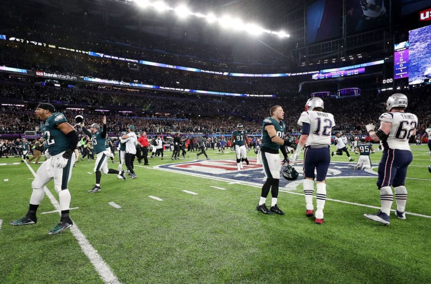 MINNEAPOLIS, MN - FEBRUARY 04: Tom Brady #12 of the New England Patriots walks offsides the field as the Philadelphia Eagles celebrate winning 41-33 in Super Bowl LII at U.S. Bank Stadium on February 4, 2018 in Minneapolis, Minnesota. (Photo by Patrick Smith/Getty Images)