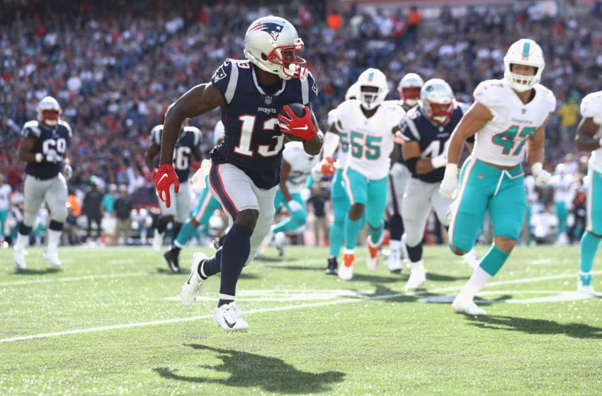 FOXBOROUGH, MA - SEPTEMBER 30: Phillip Dorsett #13 of the New England Patriots runs with the ball during the second half against the Miami Dolphins at Gillette Stadium on September 30, 2018 in Foxborough, Massachusetts. (Photo by Maddie Meyer/Getty Images)