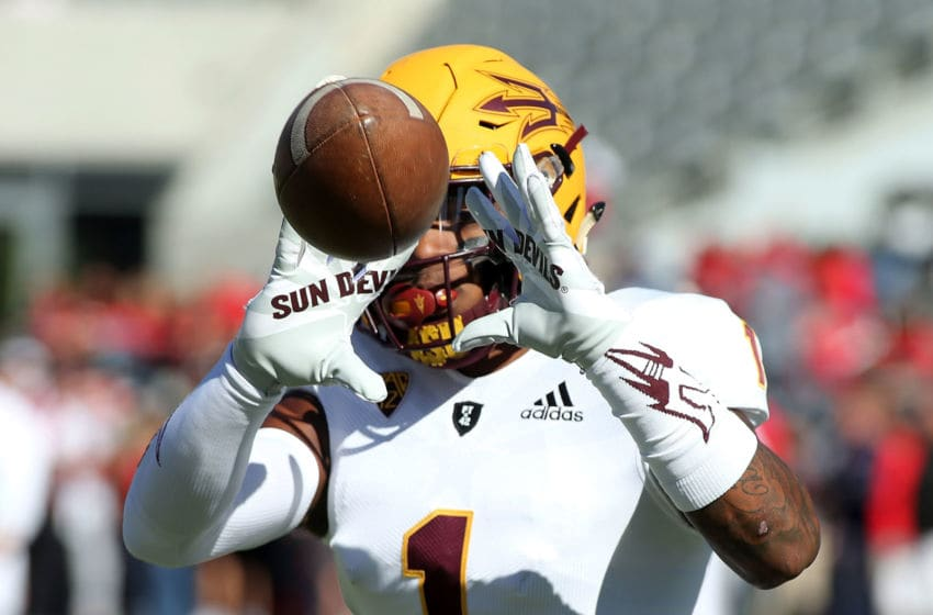 TUCSON, AZ - NOVEMBER 24: Wide receiver N'Keal Harry #1 of the Arizona State Sun Devils warms up prior to a game against the Arizona Wildcats at Arizona Stadium on November 24, 2018 in Tucson, Arizona. (Photo by Ralph Freso/Getty Images)