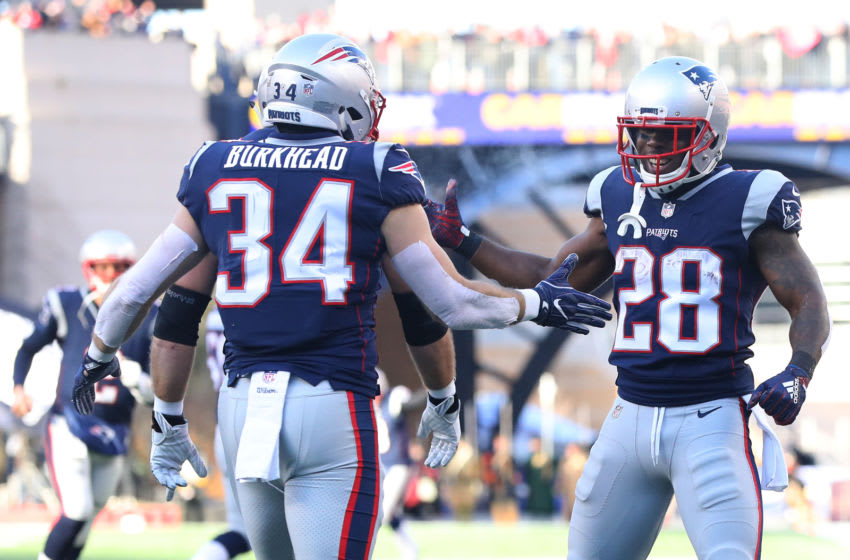 FOXBOROUGH, MASSACHUSETTS - JANUARY 13: Rex Burkhead #34 of the New England Patriots reacts with James White #28 after scoring a touchdown during the second quarter in the AFC Divisional Playoff Game against the Los Angeles Chargers at Gillette Stadium on January 13, 2019 in Foxborough, Massachusetts. (Photo by Maddie Meyer/Getty Images)