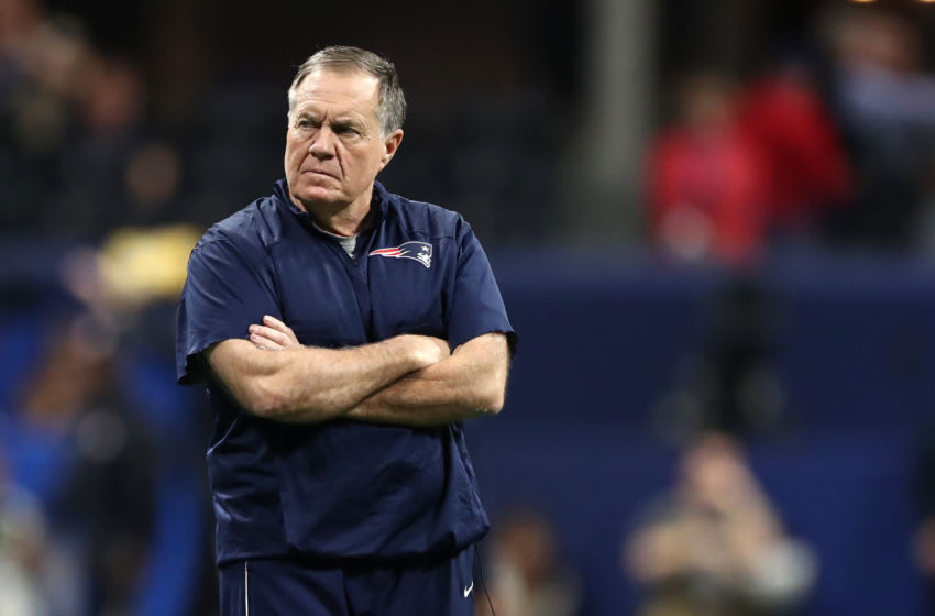 ATLANTA, GEORGIA - FEBRUARY 03: Head coach Bill Belichick of the New England Patriots looks on prior to Super Bowl LIII against the Los Angeles Rams at Mercedes-Benz Stadium on February 03, 2019 in Atlanta, Georgia. (Photo by Al Bello/Getty Images)