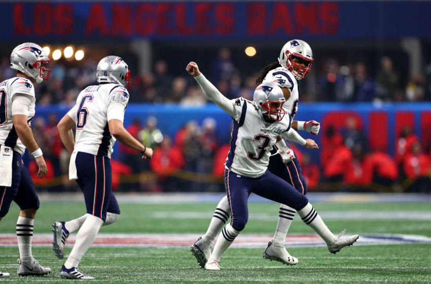 ATLANTA, GEORGIA - FEBRUARY 03: Stephen Gostkowski #3 of the New England Patriots celebrates his teams 13-3 win over the Los Angeles Rams during Super Bowl LIII at Mercedes-Benz Stadium on February 03, 2019 in Atlanta, Georgia. (Photo by Maddie Meyer/Getty Images)