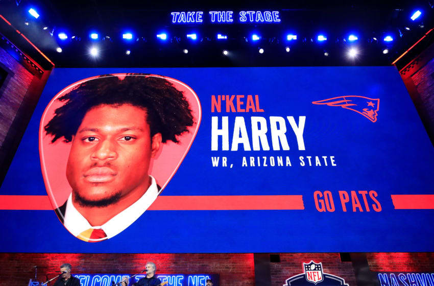 NASHVILLE, TENNESSEE - APRIL 25: A video board displays an image of N'keal Harry of Arizona State after he was chosen #32 overall by the New England Patriots during the first round of the 2019 NFL Draft on April 25, 2019 in Nashville, Tennessee. (Photo by Andy Lyons/Getty Images)