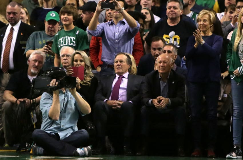 BOSTON, MA - APRIL 13: New England Patriots head coach Bill Belichick looks on during the game between the Boston Celtics and the Miami Heat at TD Garden on April 13, 2016 in Boston, Massachusetts. NOTE TO USER: User expressly acknowledges and agrees that, by downloading and/or using this photograph, user is consenting to the terms and conditions of the Getty Images License Agreement. (Photo by Mike Lawrie/Getty Images)