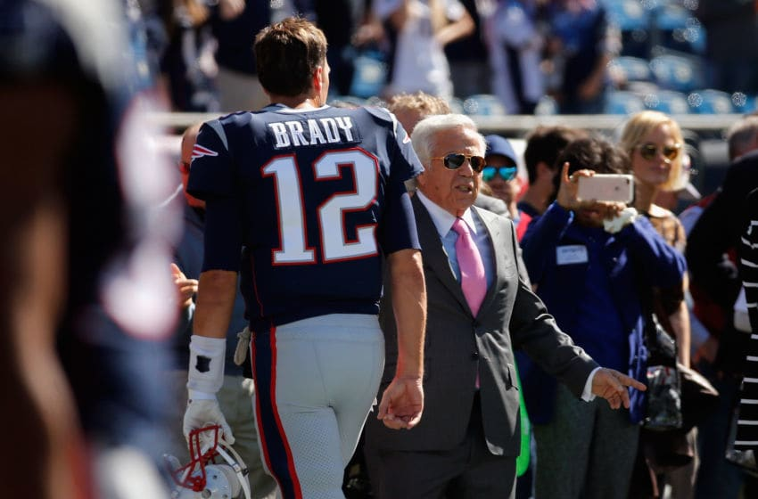 FOXBORO, MA - OCTOBER 01: Tom Brady #12 of the New England Patriots stands on the sideline with New England Patriots owner Robert Kraft before the game between the Carolina Panthers and the New England Patriots at Gillette Stadium on October 1, 2017 in Foxboro, Massachusetts. (Photo by Jim Rogash/Getty Images)