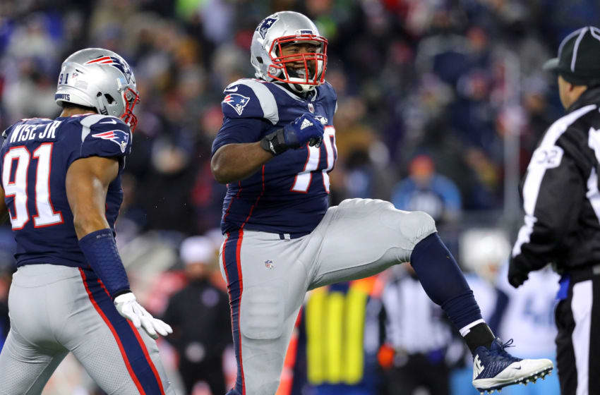 FOXBOROUGH, MA - JANUARY 13: Adam Butler #70 of the New England Patriots reacts during the fourth quarter in the AFC Divisional Playoff game against the Tennessee Titans at Gillette Stadium on January 13, 2018 in Foxborough, Massachusetts. (Photo by Maddie Meyer/Getty Images)