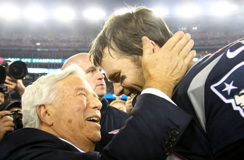 FOXBOROUGH, MA - JANUARY 21: Tom Brady #12 of the New England Patriots celebrates with owner Robert Kraft after winning the AFC Championship Game against the Jacksonville Jaguars at Gillette Stadium on January 21, 2018 in Foxborough, Massachusetts. (Photo by Jim Rogash/Getty Images)