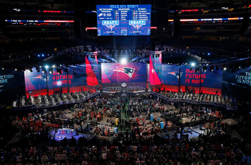 ARLINGTON, TX - APRIL 26: The New England Patriots logo is seen on a video board during the first round of the 2018 NFL Draft at AT