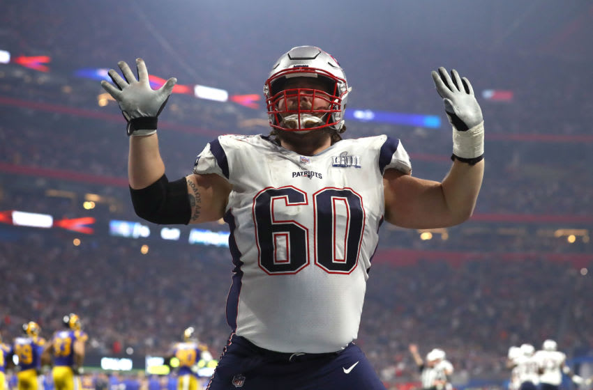 David Andrews #60 of the New England Patriots celebrates a touchdown by teammate Sony Michel in the fourth quarter against the Los Angeles Rams during Super Bowl LIII at Mercedes-Benz Stadium on February 03, 2019 in Atlanta, Georgia. (Photo by Maddie Meyer/Getty Images)