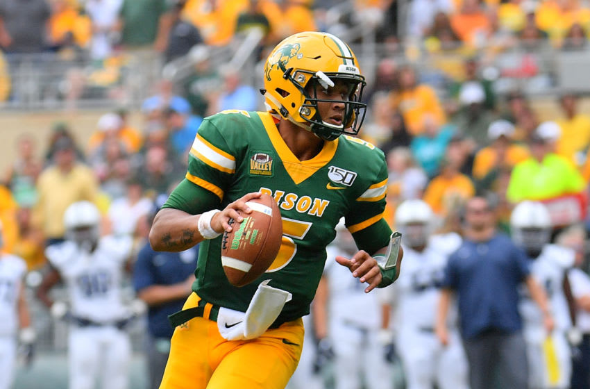 Quarterback Trey Lance #5 of the North Dakota State Bison looks to pass against the Butler Bulldogs during their game at Target Field on August 31, 2019 in Minneapolis, Minnesota. (Photo by Sam Wasson/Getty Images)