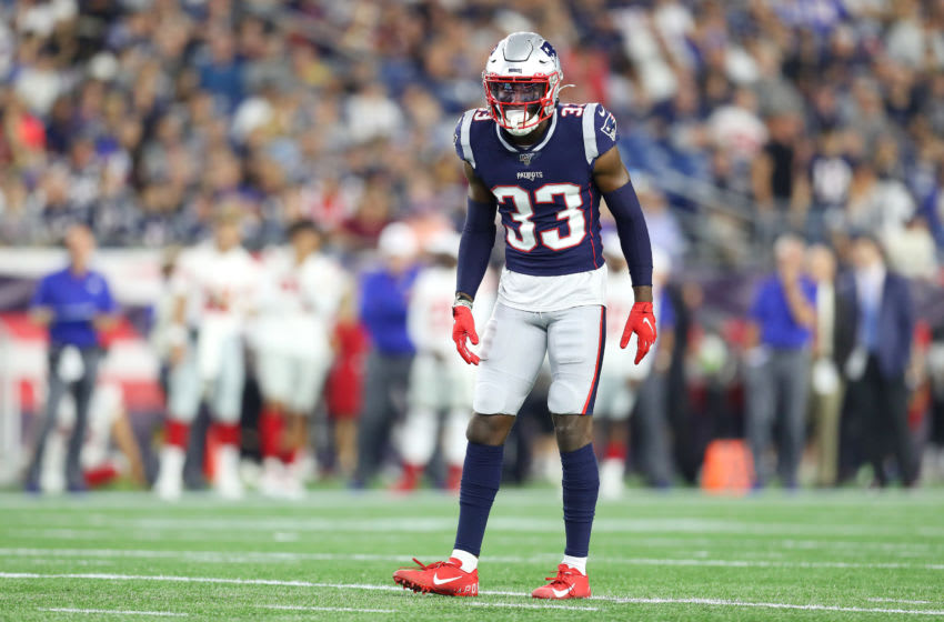 FOXBOROUGH, MASSACHUSETTS - AUGUST 29: Joejuan Williams #33 of the New England Patriots during the preseason game between the New York Giants and the New England Patriots at Gillette Stadium on August 29, 2019 in Foxborough, Massachusetts. (Photo by Maddie Meyer/Getty Images)
