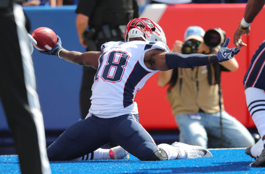 ORCHARD PARK, NY - SEPTEMBER 29: Matthew Slater #18 of the New England Patriots celebrates a touchdown after a blocked punt during the first half against the Buffalo Bills at New Era Field on September 29, 2019 in Orchard Park, New York. (Photo by Timothy T Ludwig/Getty Images)