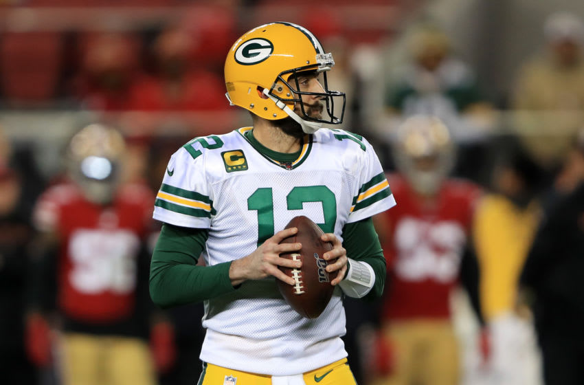 SANTA CLARA, CALIFORNIA - JANUARY 19: Aaron Rodgers #12 of the Green Bay Packers looks to pass against the San Francisco 49ers during the NFC Championship game at Levi's Stadium on January 19, 2020 in Santa Clara, California. (Photo by Sean M. Haffey/Getty Images)