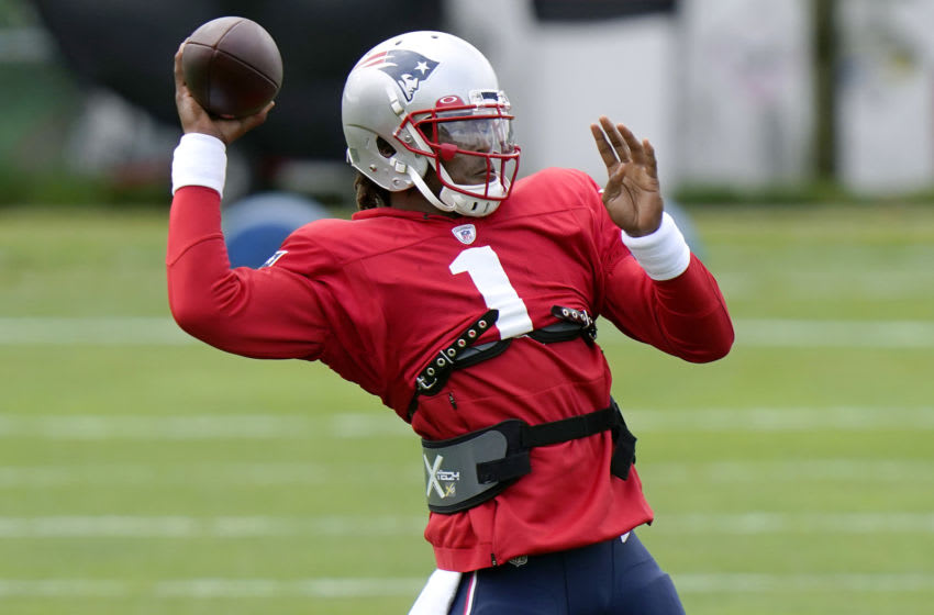 Cam Newton #1 of the New England Patriots throws a pass during training camp at Gillette Stadium on August 17, 2020 in Foxborough, Massachusetts. (Photo by Steven Senne-Pool/Getty Images)