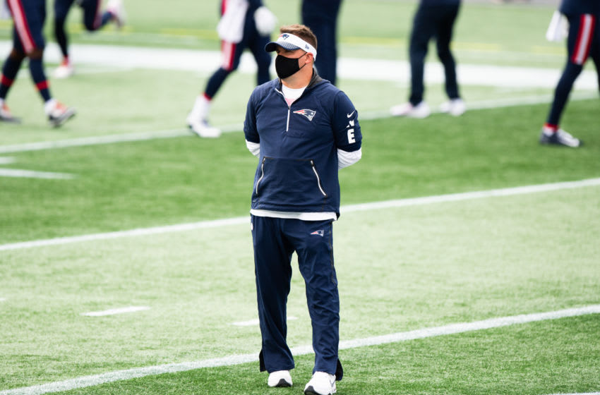 FOXBOROUGH, MA - SEPTEMBER 27: New England Patriots Offensive Coordinator Josh McDaniels during warmups prior to the start of the game against the Las Vegas Raiders at Gillette Stadium on September 27, 2020 in Foxborough, Massachusetts. (Photo by Kathryn Riley/Getty Images)