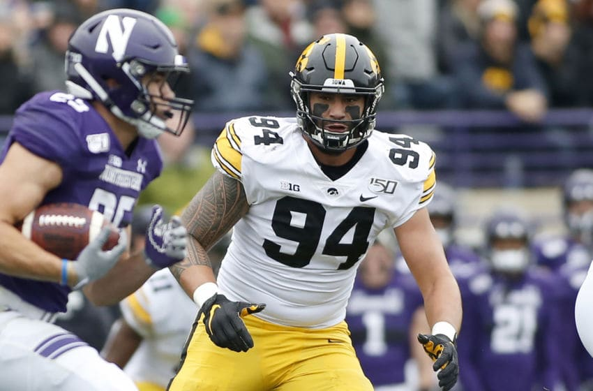 EVANSTON, ILLINOIS - OCTOBER 26: A.J. Epenesa #94 of the Iowa Hawkeyes on the field in the game against the Northwestern Wildcats at Ryan Field on October 26, 2019 in Evanston, Illinois. (Photo by Justin Casterline/Getty Images)