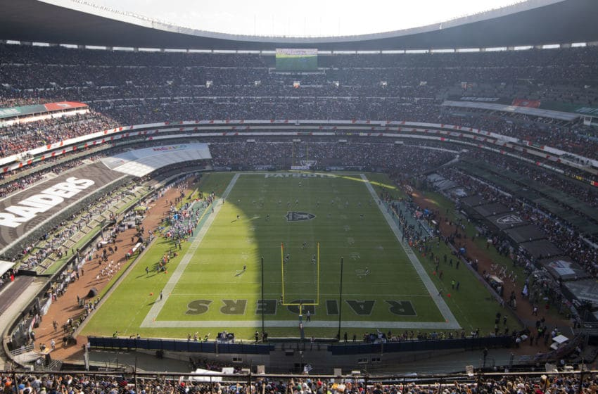 MEXICO CITY, MEXICO - NOVEMBER 19: Fans watch the pregame show before the New England Patriots face the Oakland Raiders at Estadio Azteca on November 19, 2017 in Mexico City, Mexico. (Photo by Jamie Schwaberow/Getty Images)